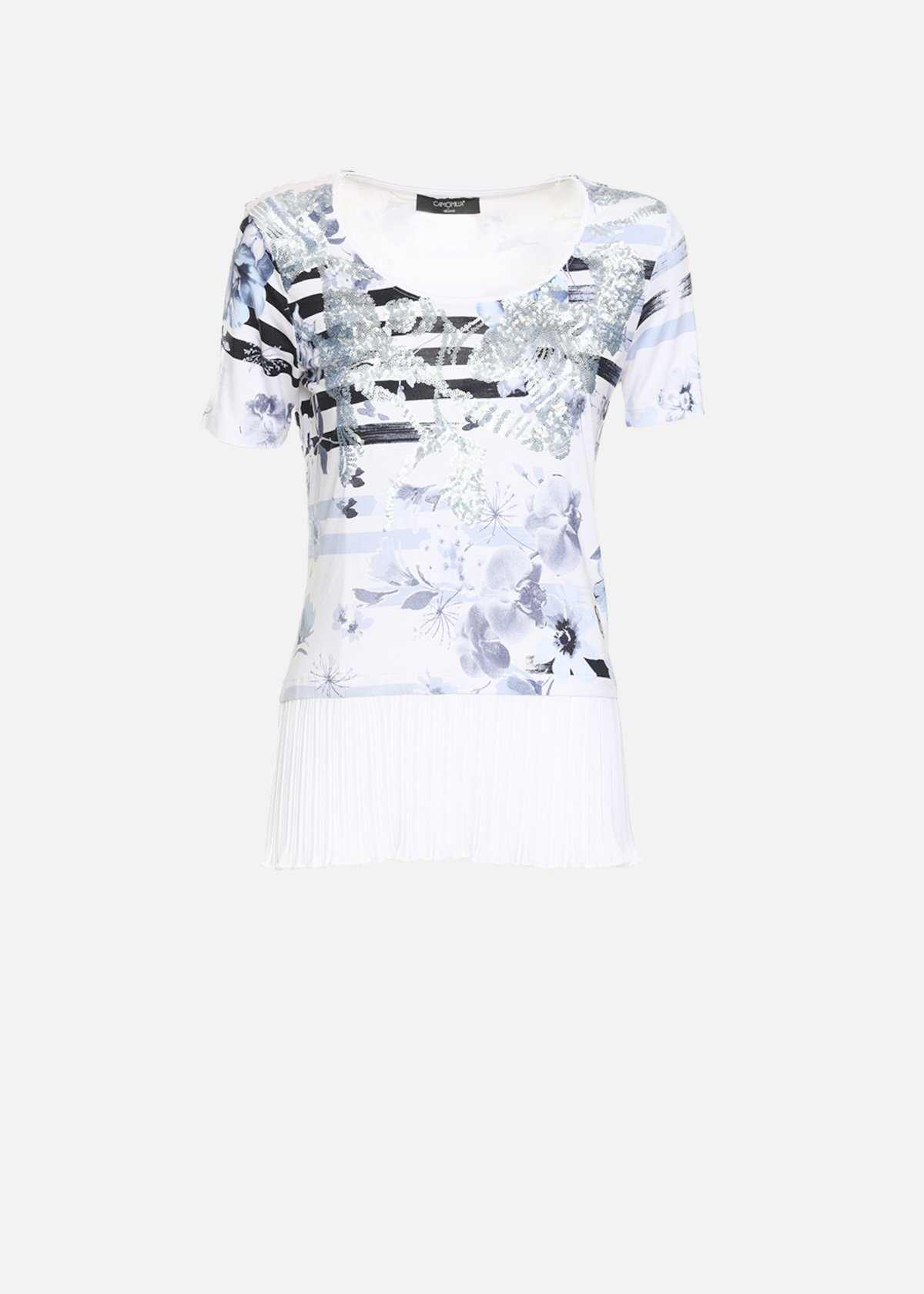 T-shirt Shakyra con plissè di georgette - White / Medium Blue Fantasia