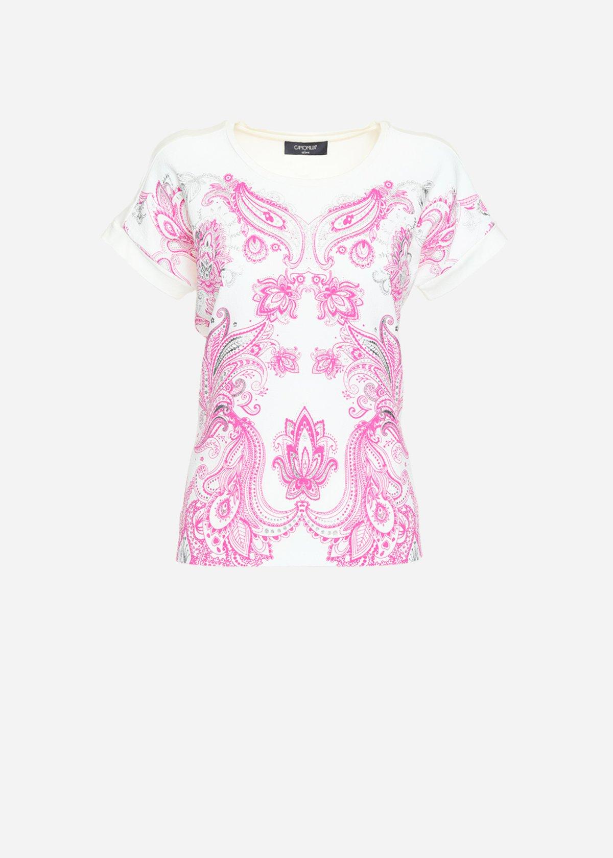 T-shirt Sarik con scollo tondo e crepe mylar effect