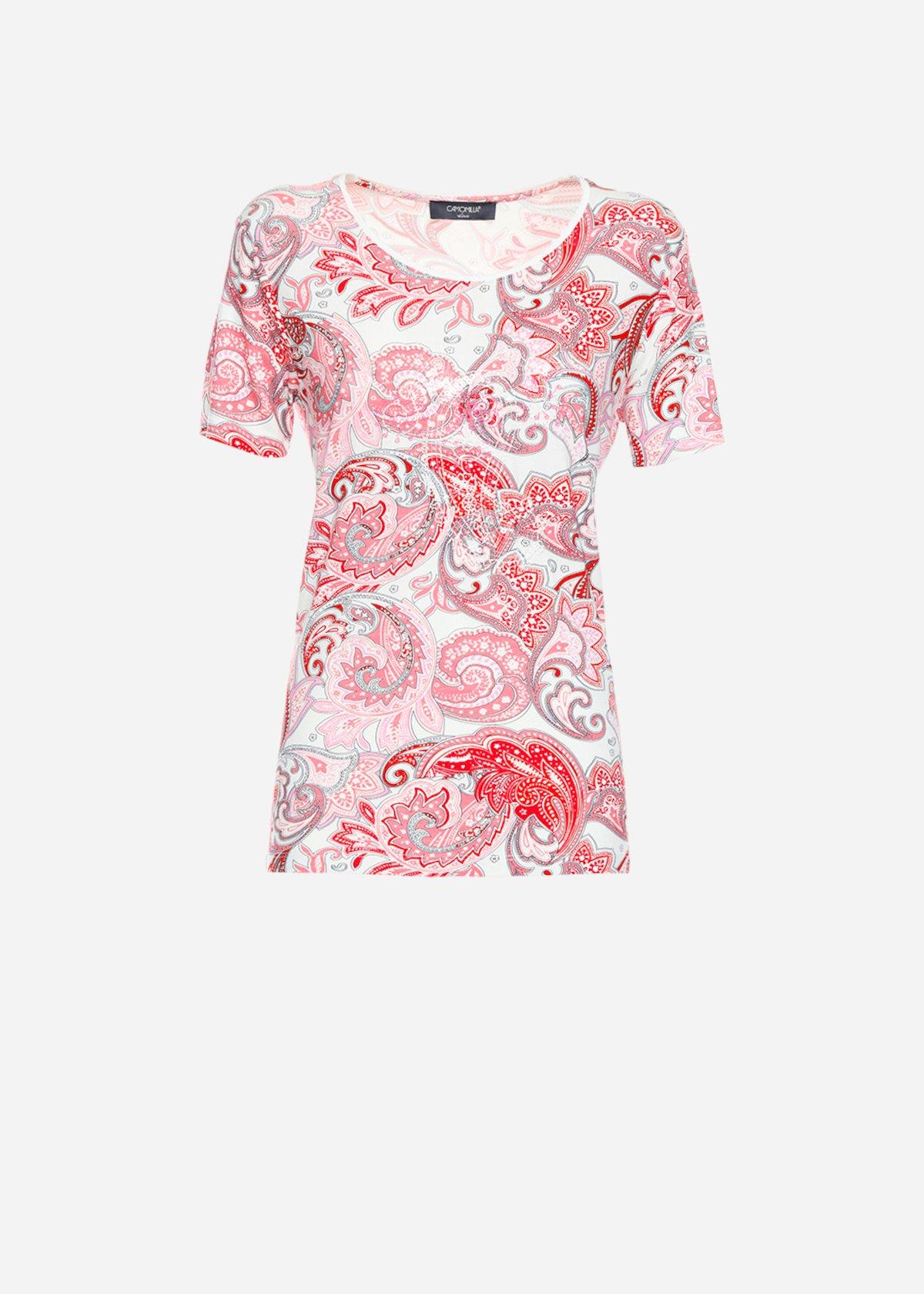 Surya round neck and embroidery t-shirt - Fuxia / White Fantasia