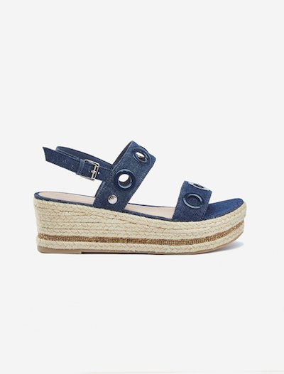 Selina denim espadrilles sandals with wedge