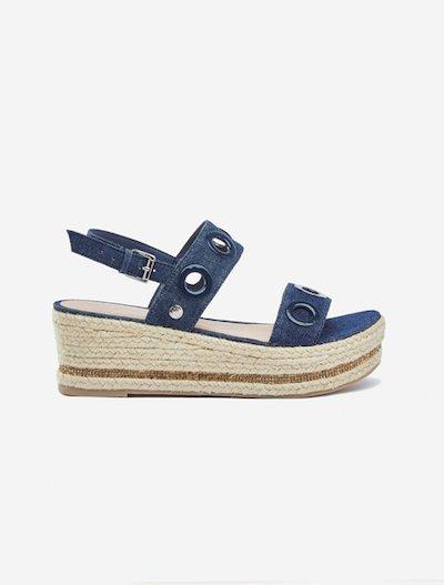 Selina denim espadrilles sandals with wedge