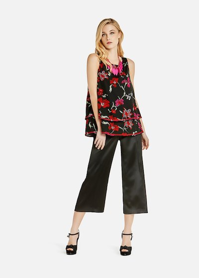 Tilly crew neck top with double flounce and flower pattern - Black / Rouge Fantasia