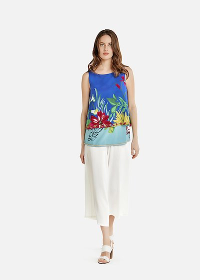 Floral Toffy top with beads on the bottom