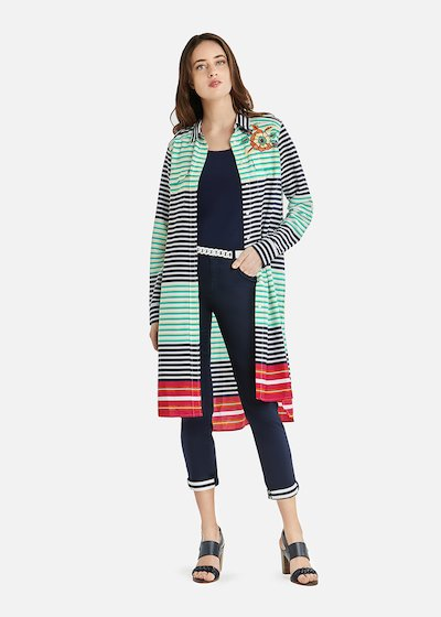 Cherry long blouse with multicolor stripes