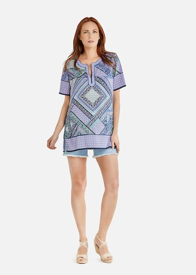 Camille blouse with short sleeve and print