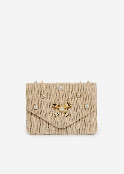 Brigida clutch with metal bow and pearls