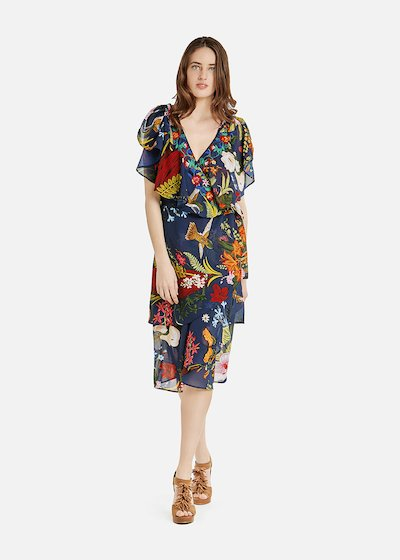Andres dress with short sleeves and front flounces