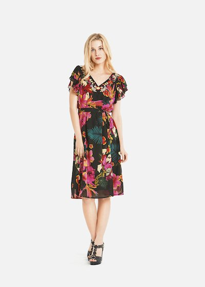 Arvin dress with double rouches on the sleeves