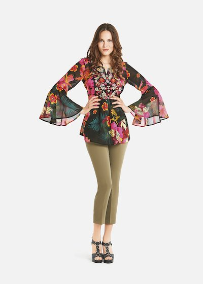 Cristyl blouse with round neckline and print