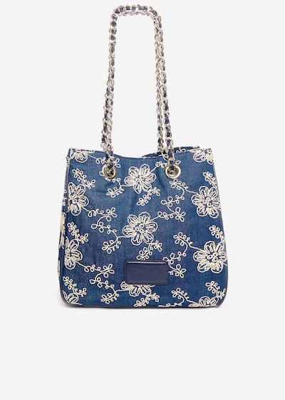 Shopping bag Belta with floral embroidery