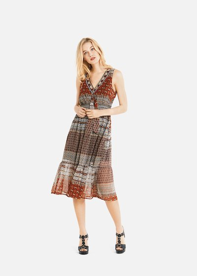 Alain long dress with ethnic pattern