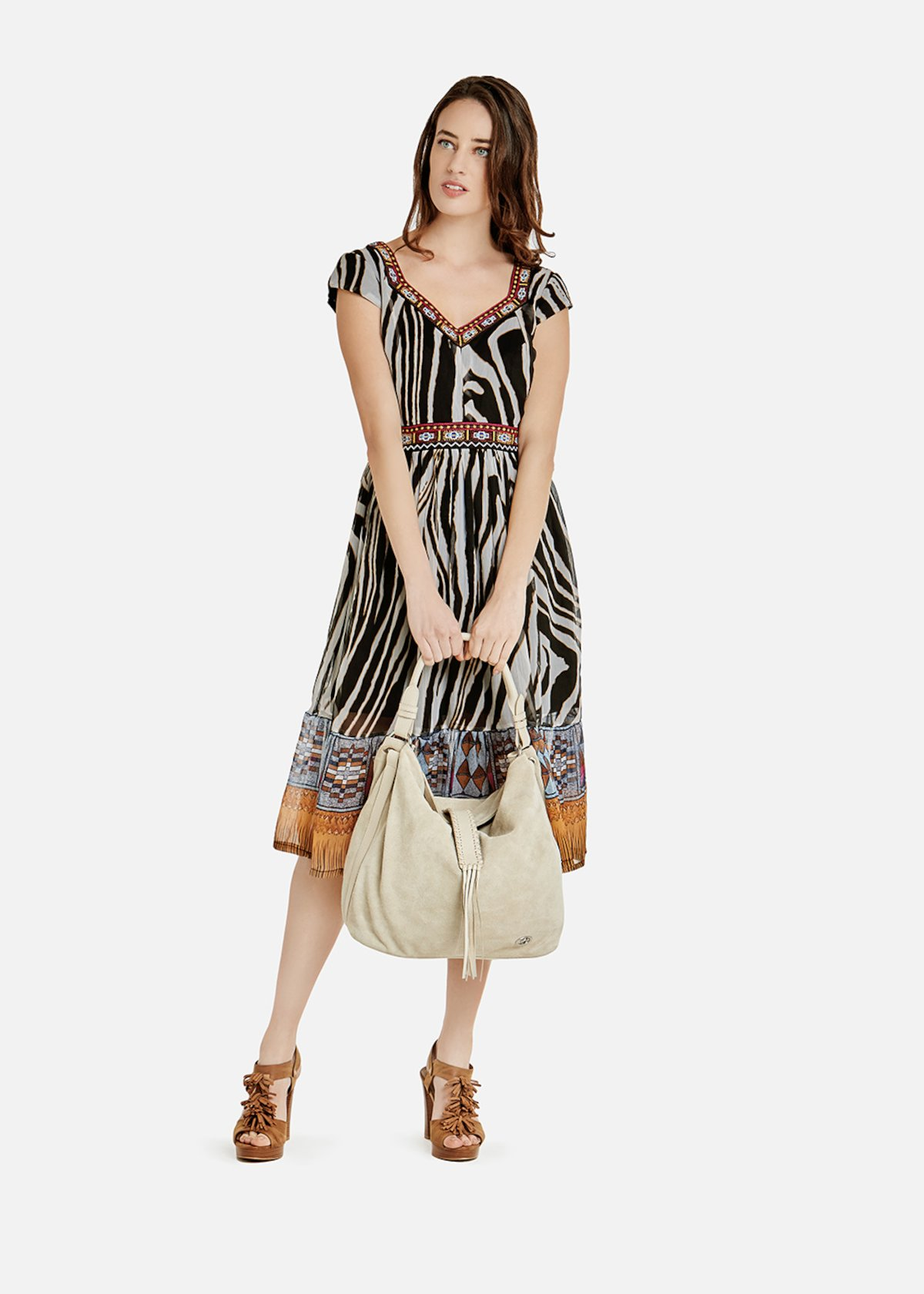 Agos long dress with zebra pattern
