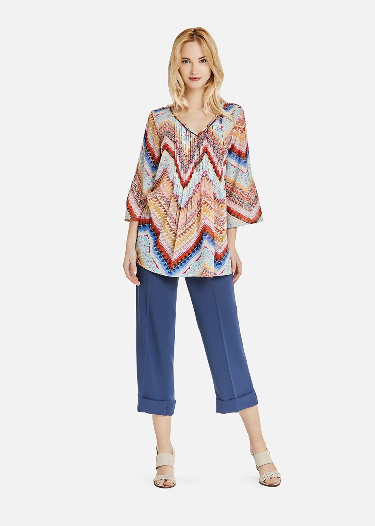Blusa Clios multicolor con stampa a zig zag