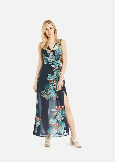 Askil long dress with floral print and slit