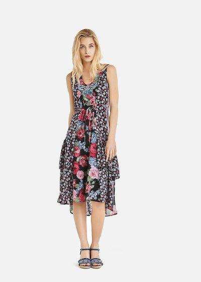 Aurelien dress with double floral print