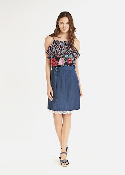 Celil top with flounce and floral print