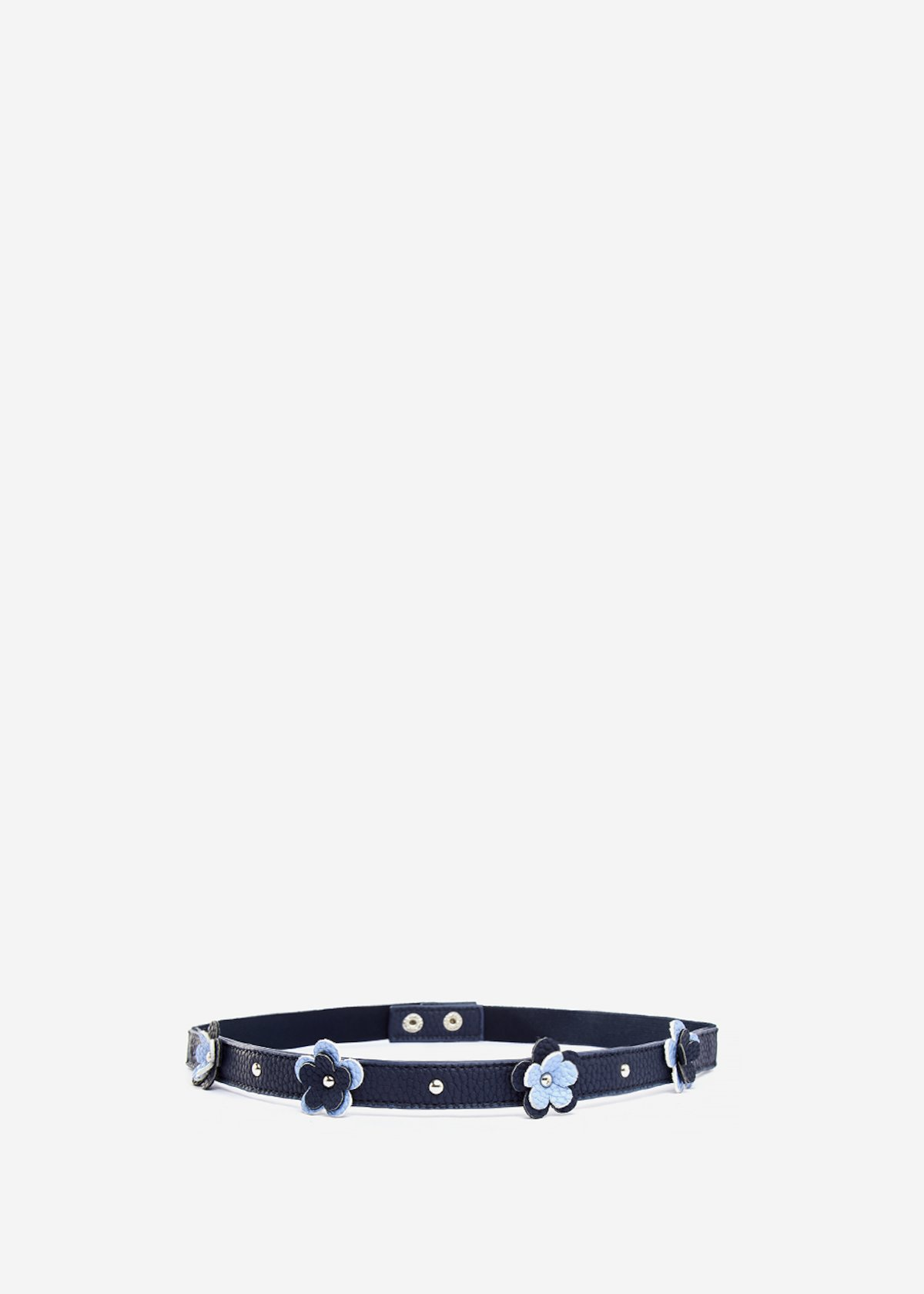 Faux-leather belt Chris with micro-flowers decoration - Medium Blue Morning