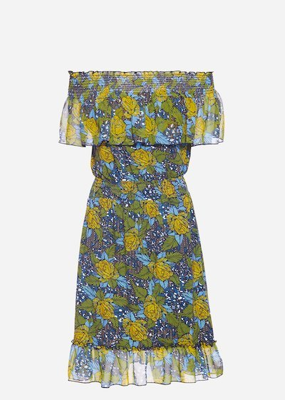 Alexander dress with georgette flounce