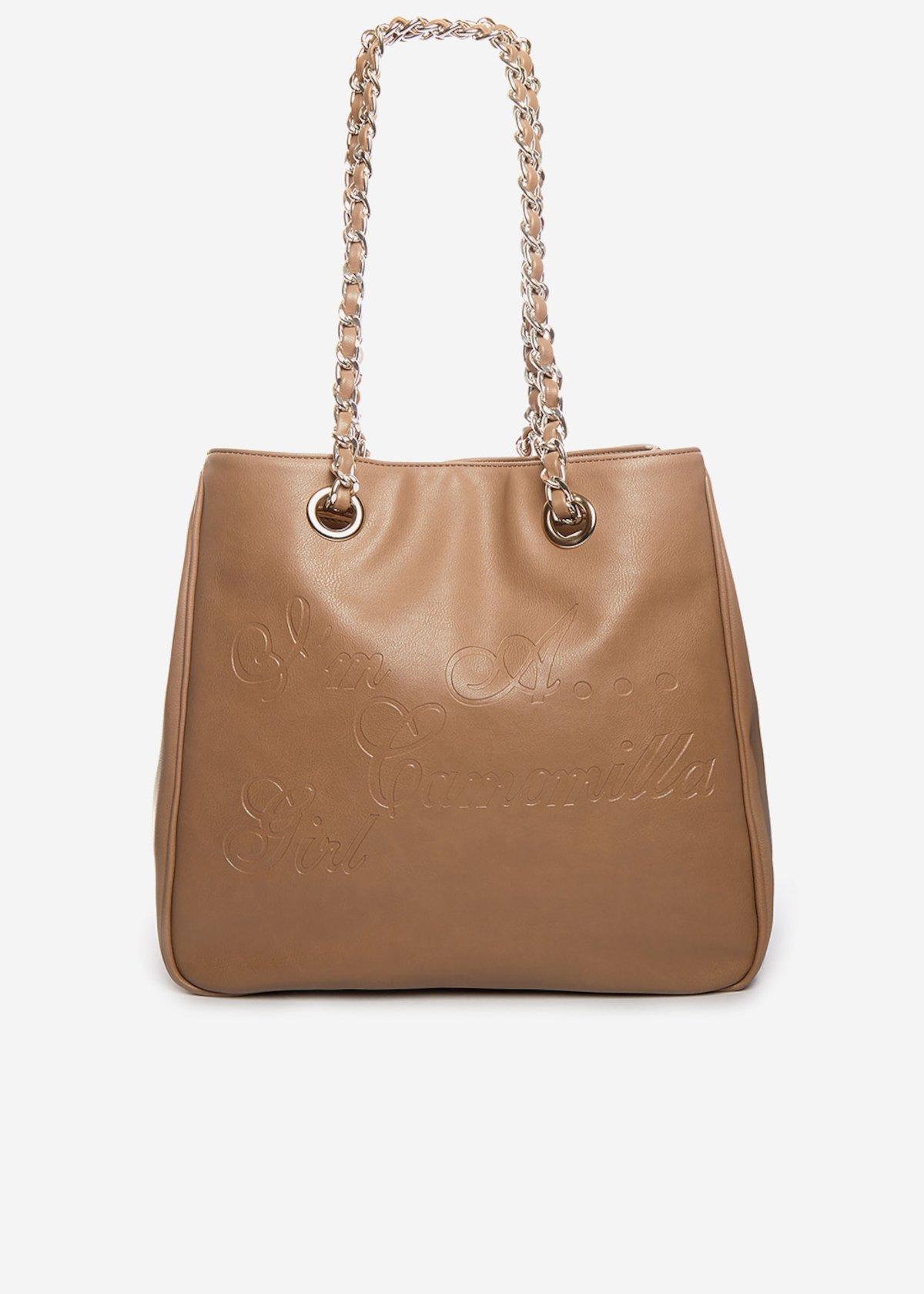 Shopping bag Minicamo girl in ecopelle con manici a catena