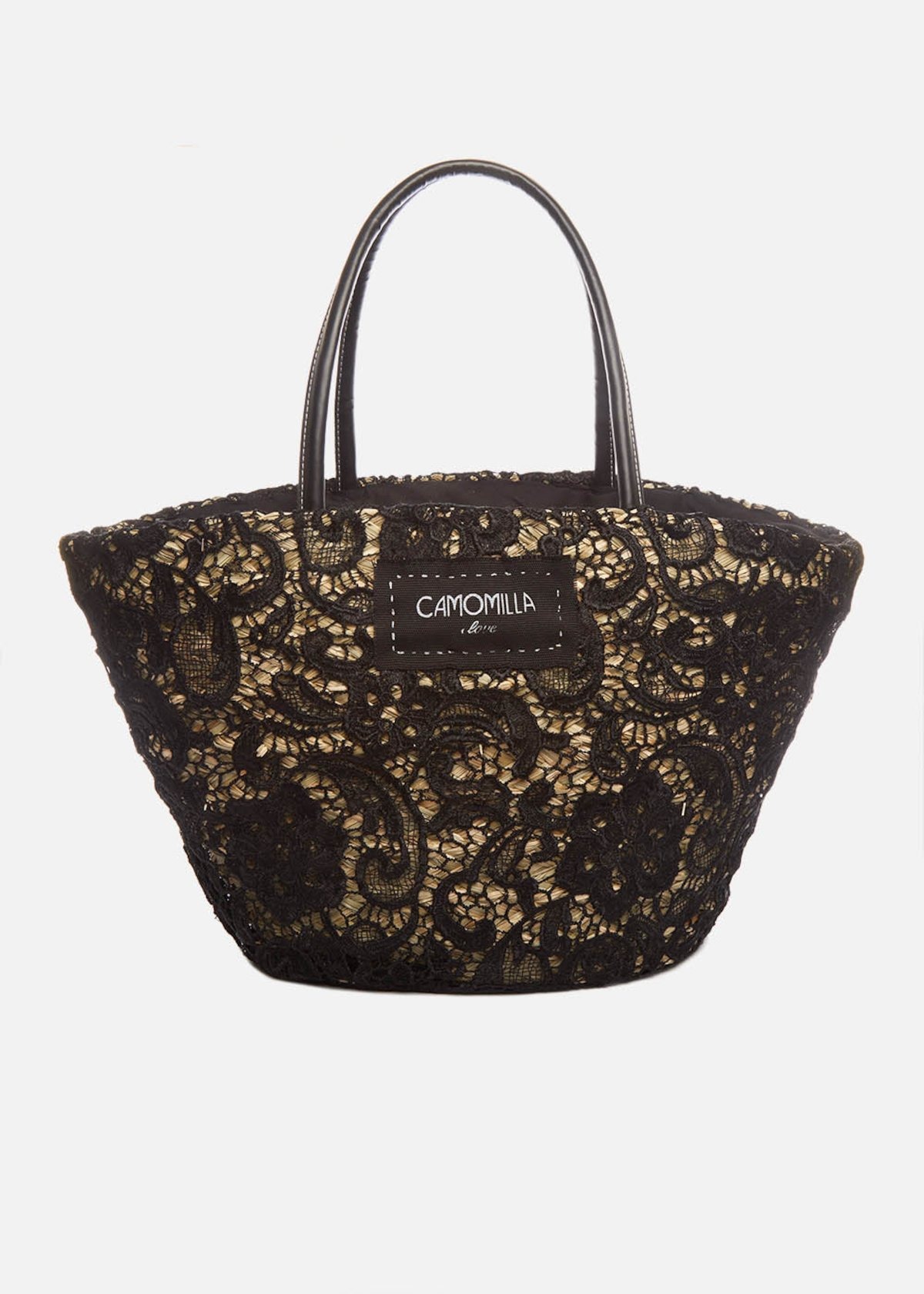 Straw basket Marty with black lace embroidery