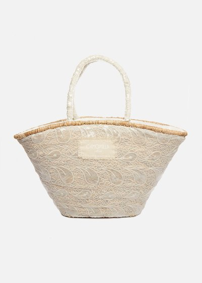 Straw basket Maribel with white lace embroidery