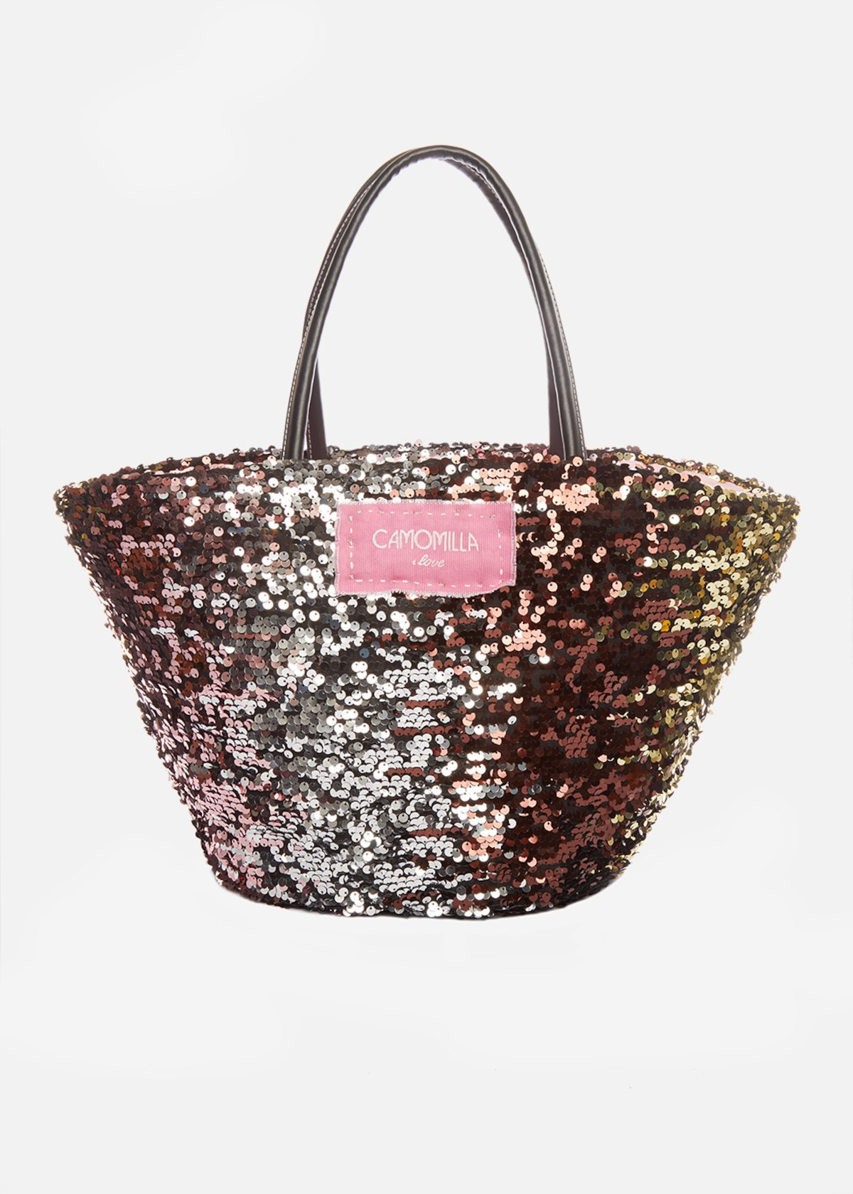 Marzia straw basket with multicolour sequins - Magma / Cameo
