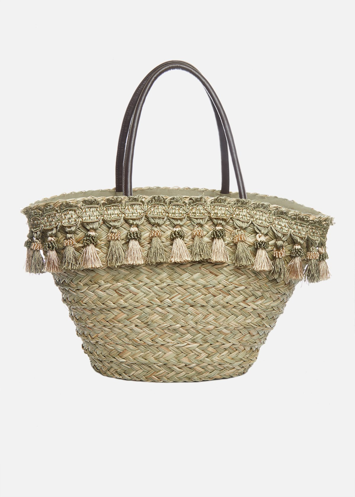 Maira straw basket with tassels detail - Safari / Mint