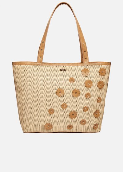 Blake shopping bag with floral applications - Desert