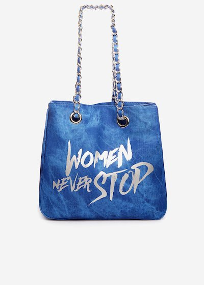 Shopping bag Minidewns Woman never stop - Medium Denim