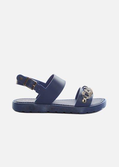 Chenzia sandals with rhinestone chain and strap