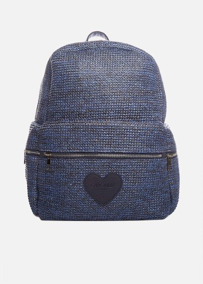 Raffia Bhutan backpack with heart logo