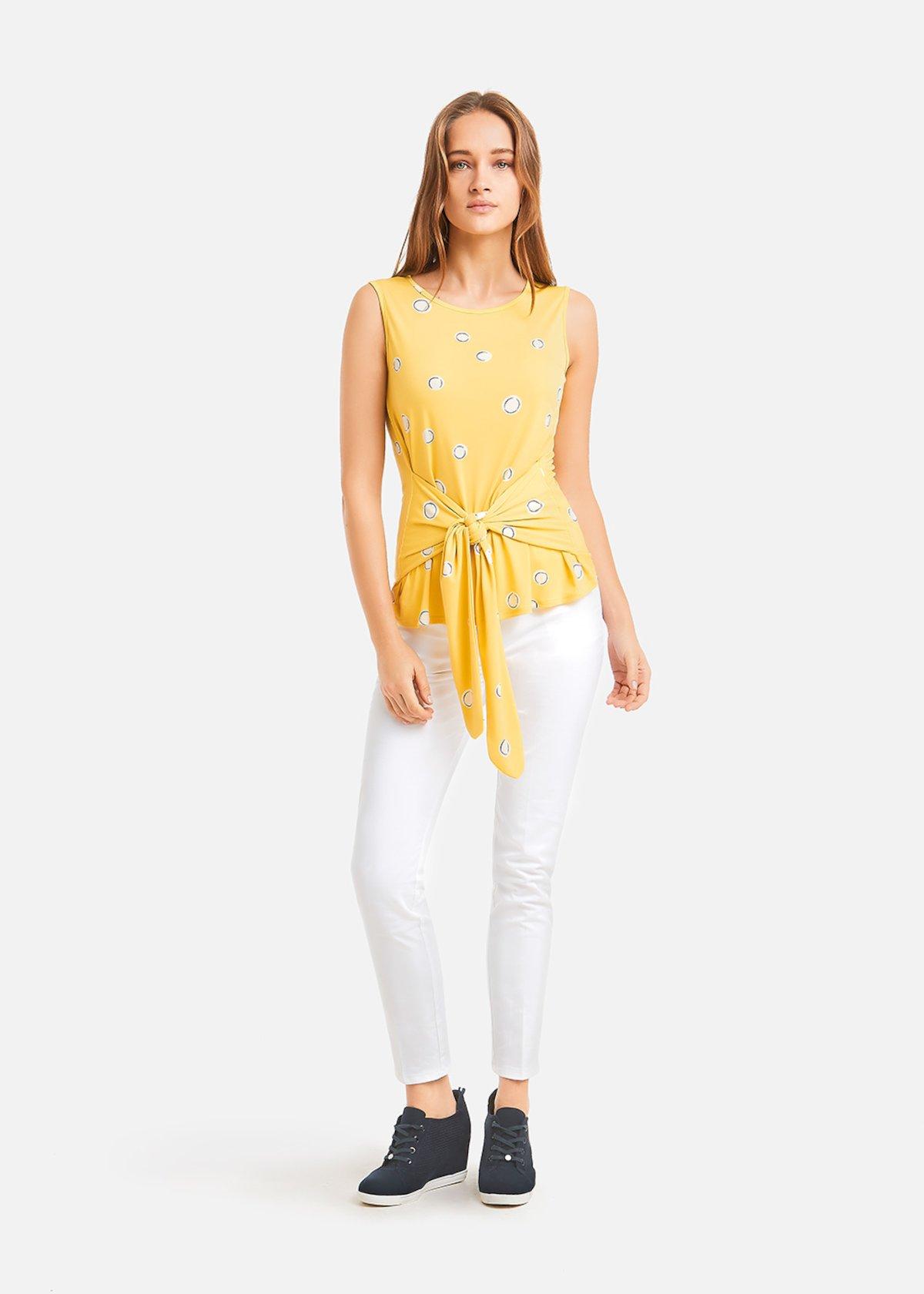 Polka dots pattern Teddy top with sash - Lemon / White Pois