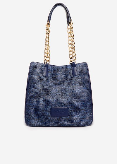 Faux leather and straw Blinda bag with chain handles