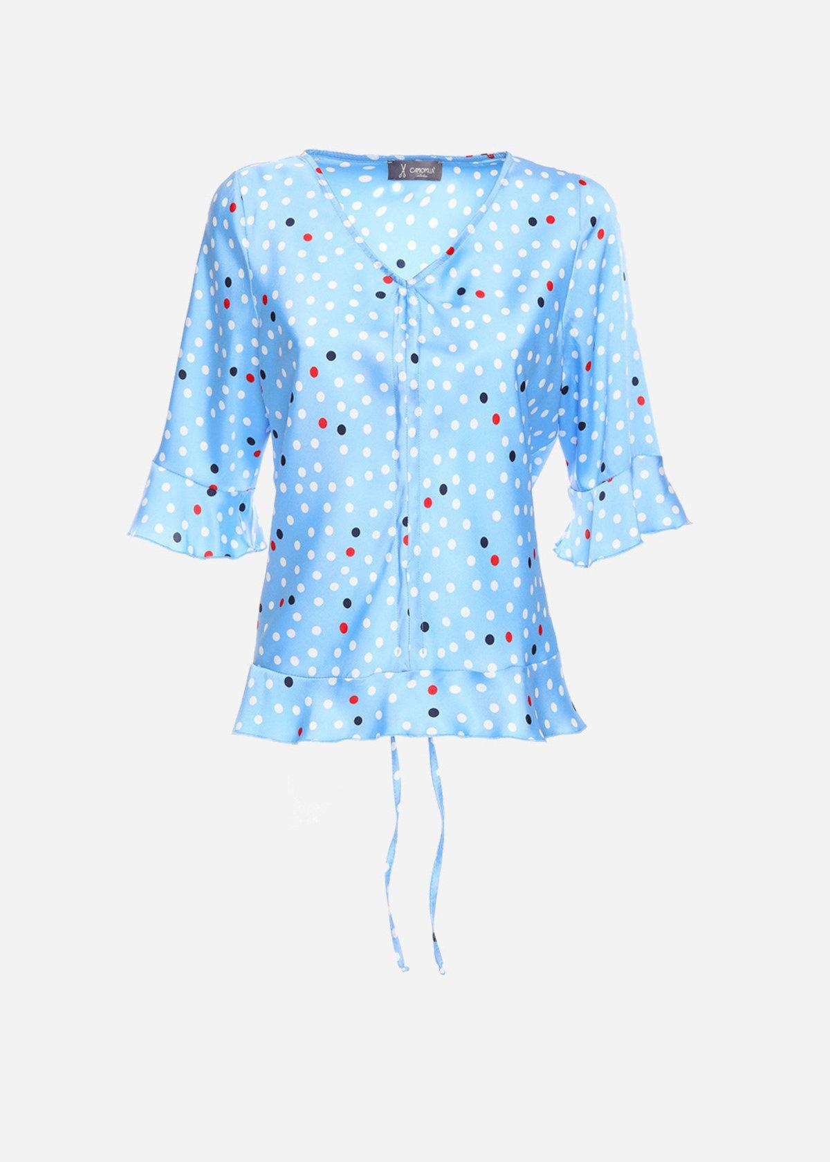 Samuela twill  t-shirt in polka dot with V-neck - Morning / Blue Pois