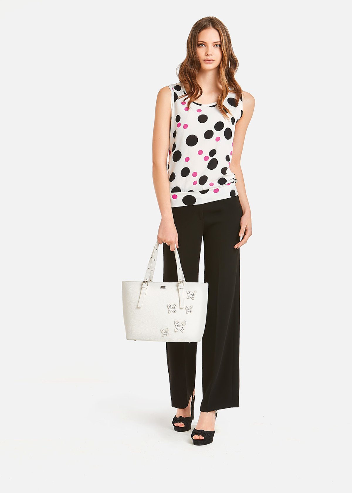 Timmy Top polka dot pattern - White / Black Pois