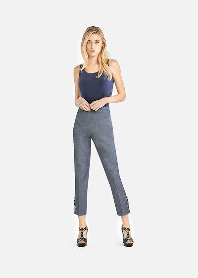Power capri trousers with criss-cross detail on the bottom - Dark Denim