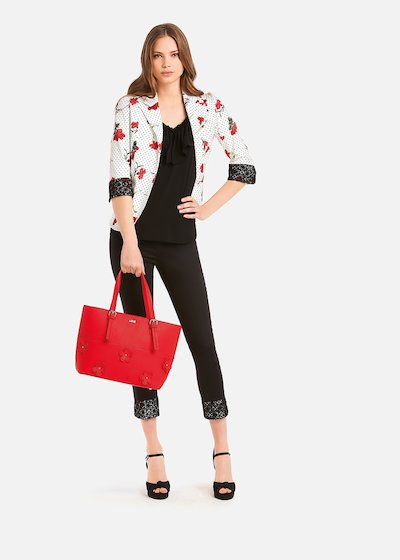Gabriel jacket carnations and polka dots pattern - White / Rouge Fantasia