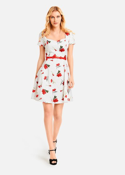 Agnese dress carnations and polka dots pattern