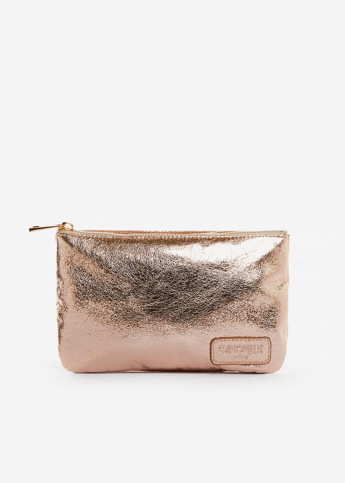 Tonga clutch bag laminated effect - Rosa