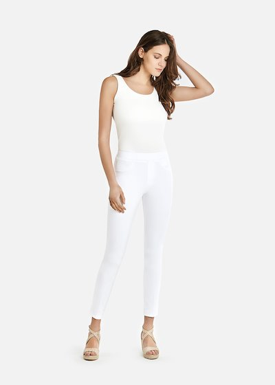 Jeggings Kelly B with covered elastic and logoed faux leather flap - White