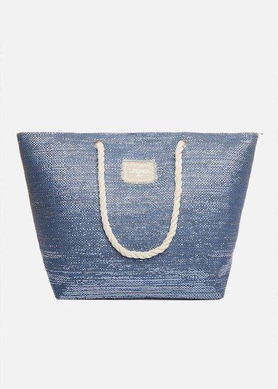 Shopping bag Bora effetto Lurex con manici in corda
