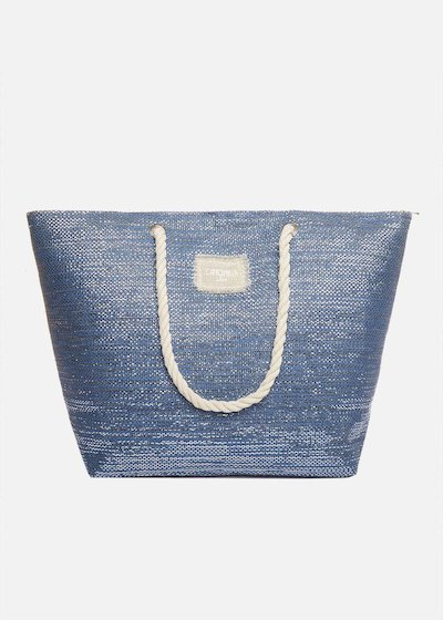 Shopping bag Bora effetto Lurex con manici in corda