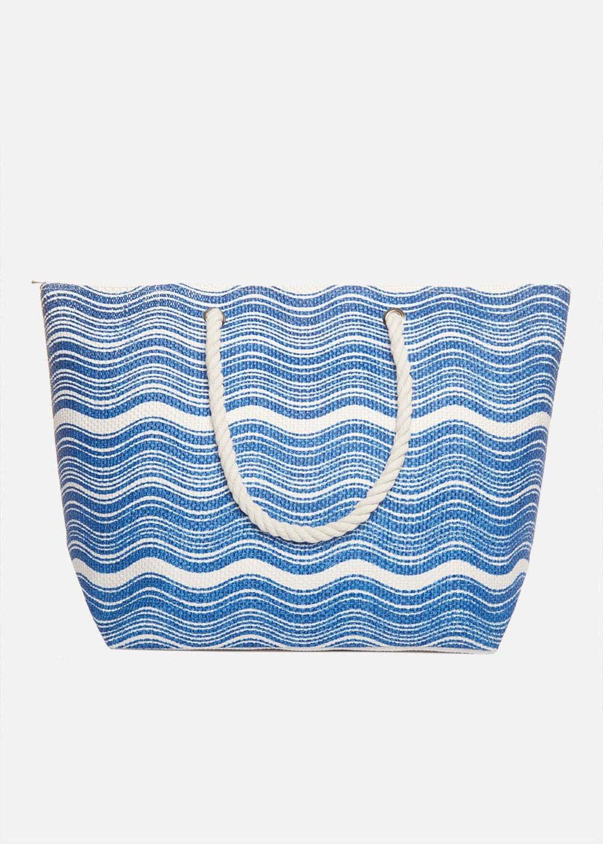 Shopping bag Brassa waves printed con manici in corda - Formentera / White