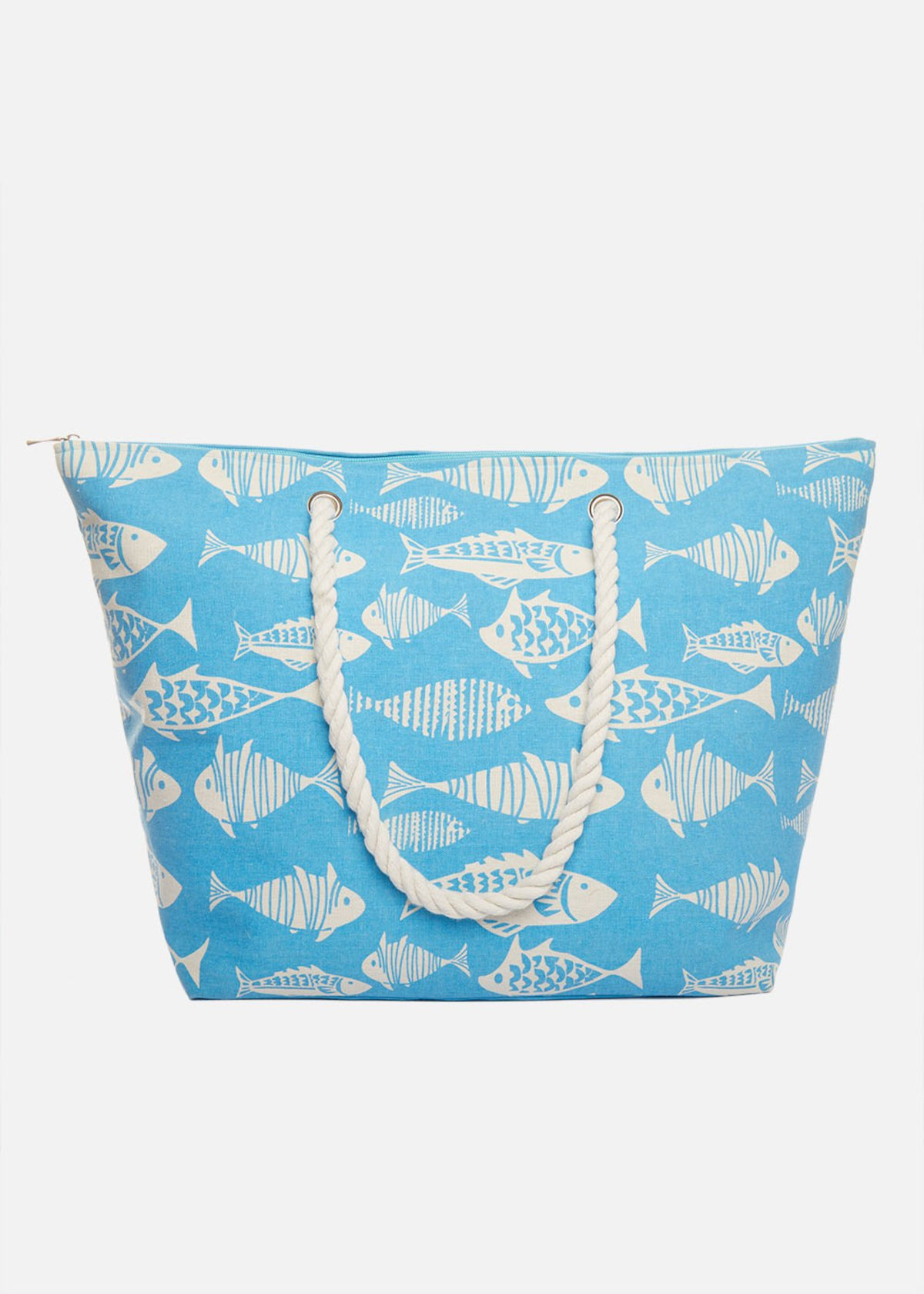 Shopping bag Binga fish printed with rope handles
