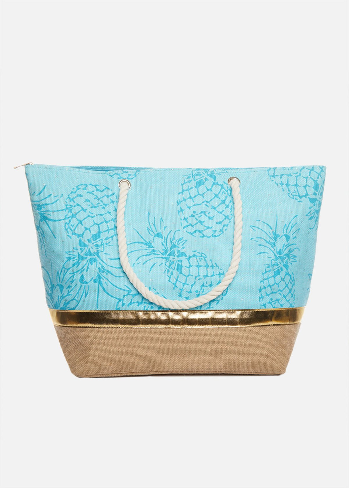 Shopping bag Brasilia ananas printed con manici in corda