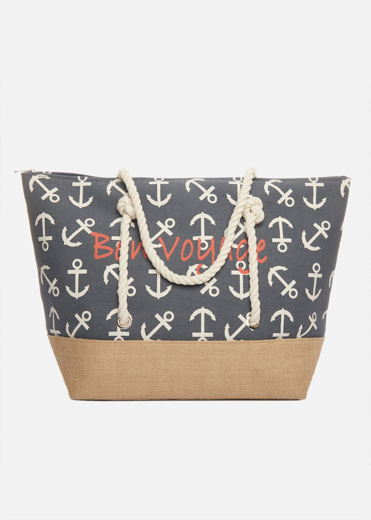 Shopping bag Bafia with anchors and rope handles - Medium Blue