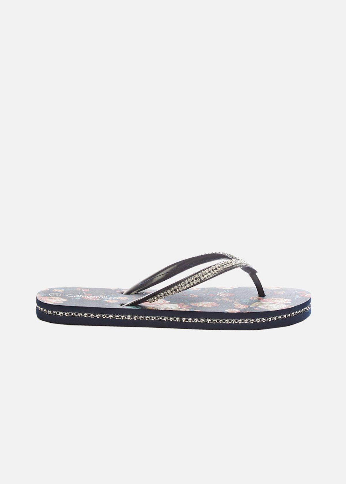 Cloe flip flops with micro-crystal detail