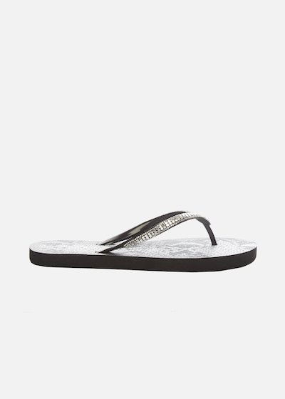 Cassia flip flops python effect with metal and crystal detail