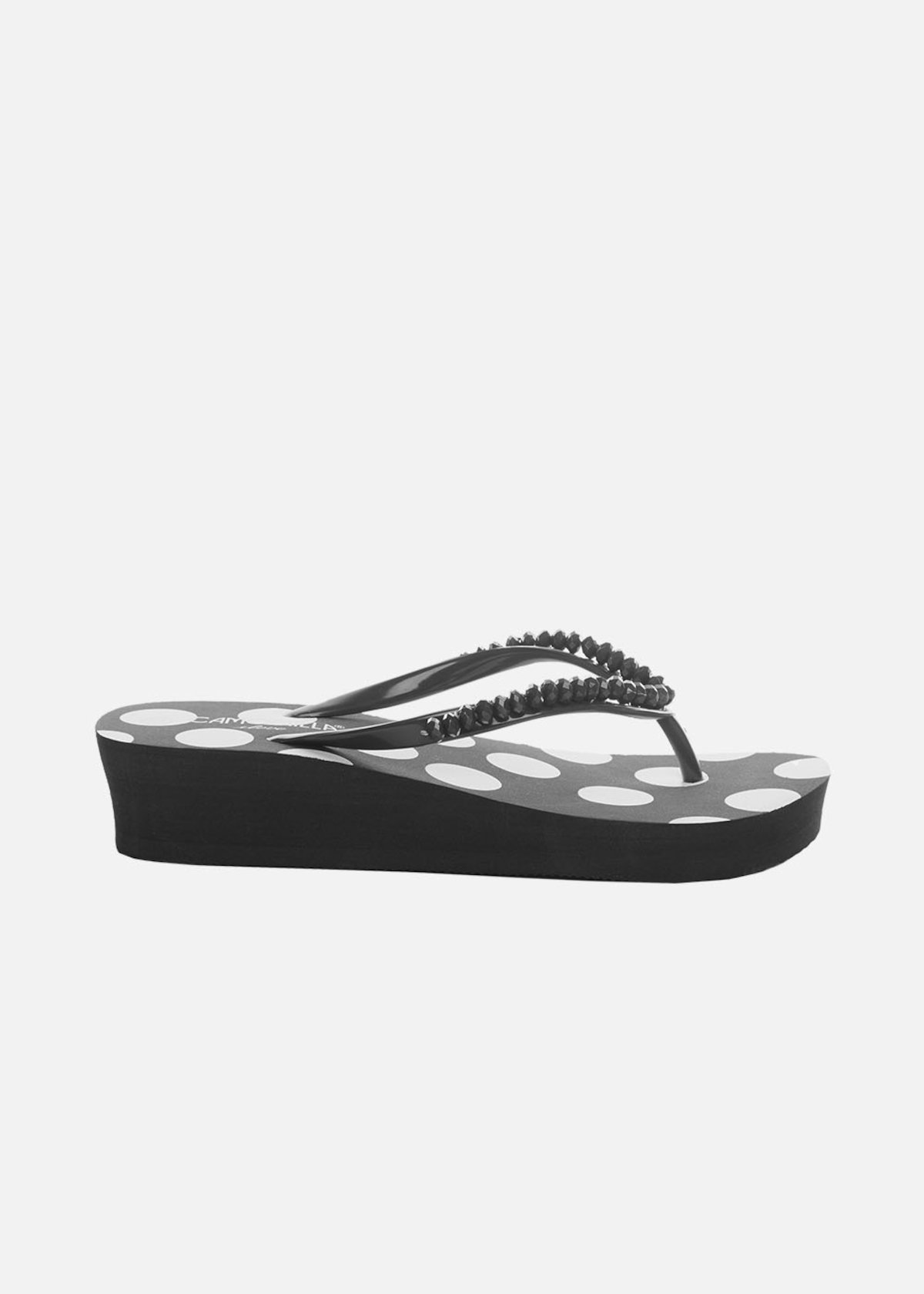 Calluna flip flops with stones detail - Black / White