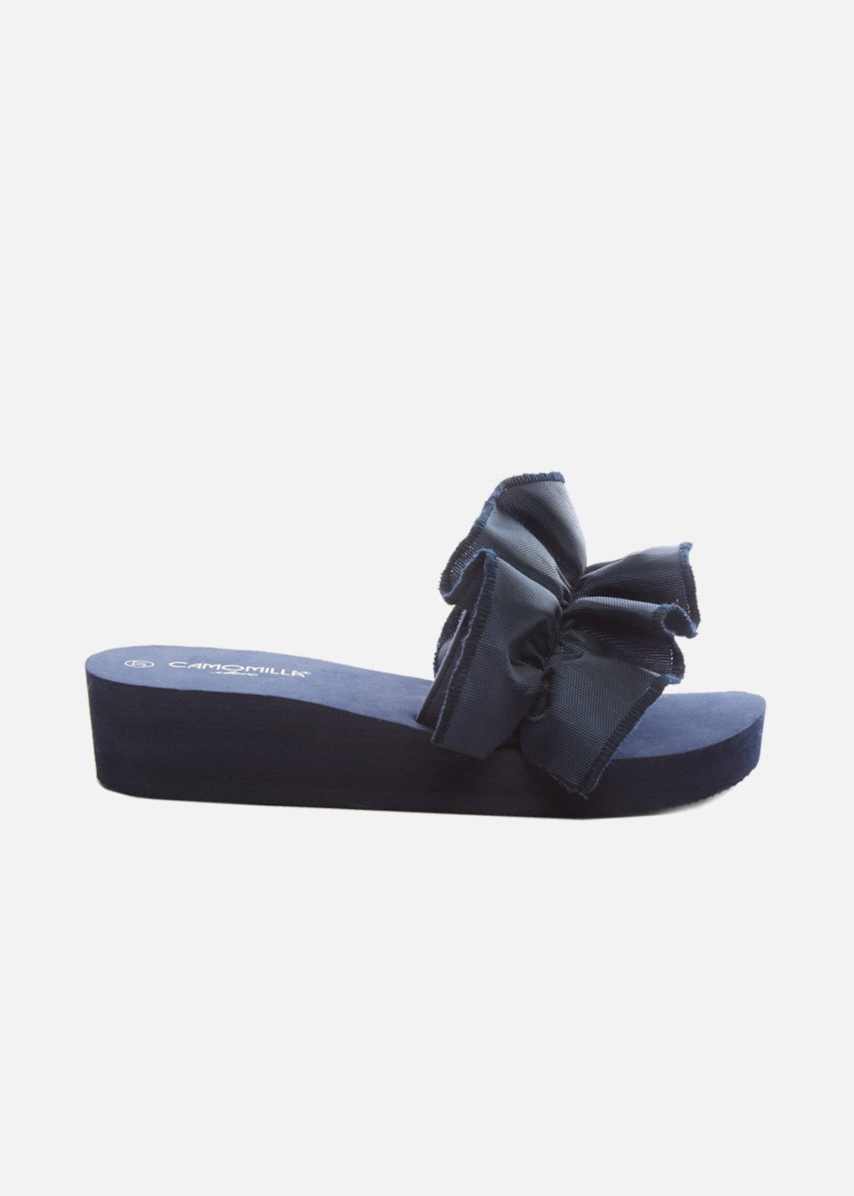 Clivia Slippers with ruffle detail on the band - Medium Blue